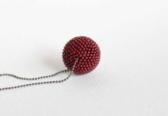 Burgundy necklace Wine red beaded pendant Dark red by Crafticum