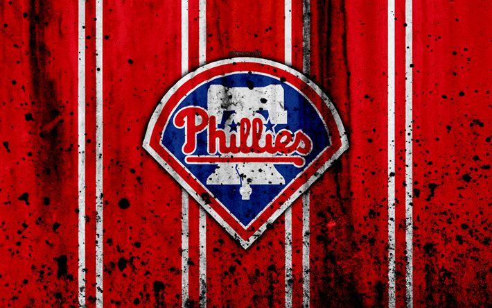 Download wallpapers 4k, Philadelphia Phillies, grunge, baseball club, MLB, America, USA, Major League Baseball, stone texture, baseball
