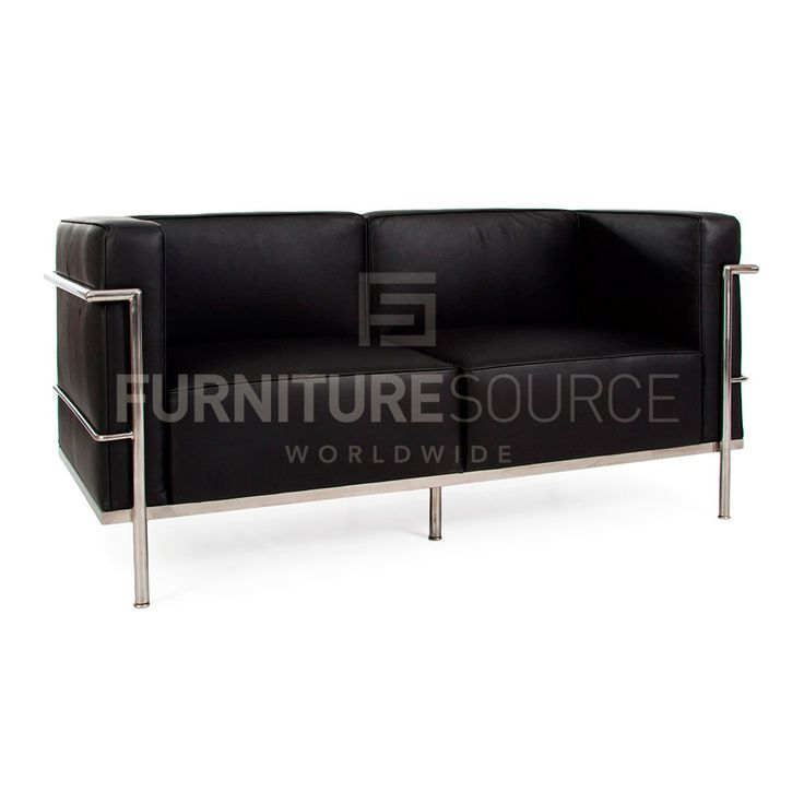 MidCentury Modern LC3 Grand Comfort 2 Seat Sofa Le Corbusier Style - Black Leather