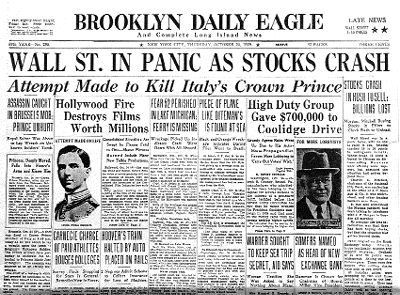 The Great Depression stemmed from the Stock Market Crash on October 29, 1929- lasting til World War II.  1 out of four people were unemployed.  People's money just vanished.  Banks were forced to close and the country became desperate.      Google Image Result for http://www.otpco100.com/OurHistory/Decades/PublishingImages/stockMarketCrash.gif