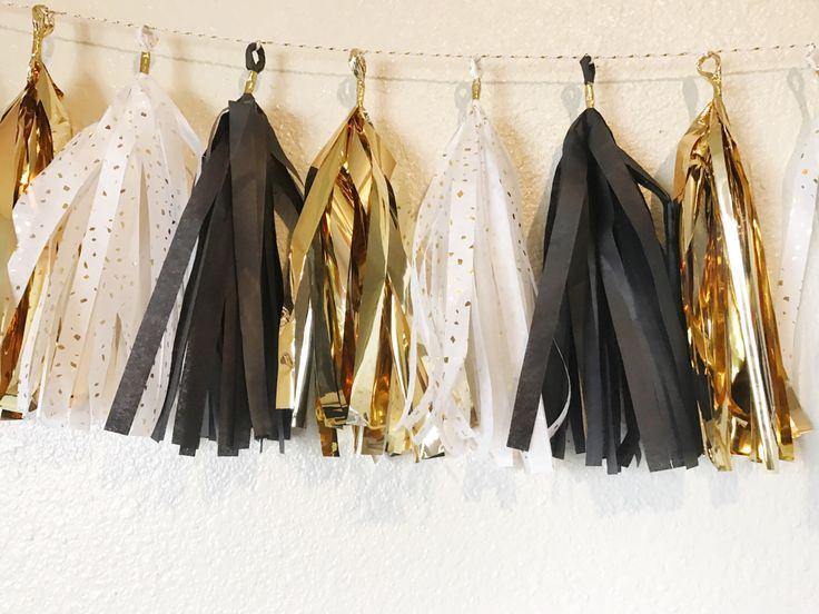 Tassel Garland | Black, White, and Gold Tassel Garland | Hollywood Theme Party | Gatsby Theme Party | Party Decorations | Bridal Shower | 50 by CMCraftStudio on Etsy https://www.etsy.com/listing/498845653/tassel-garland-black-white-and-gold