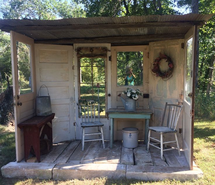 Repurposed doors makes a great little freestanding porch