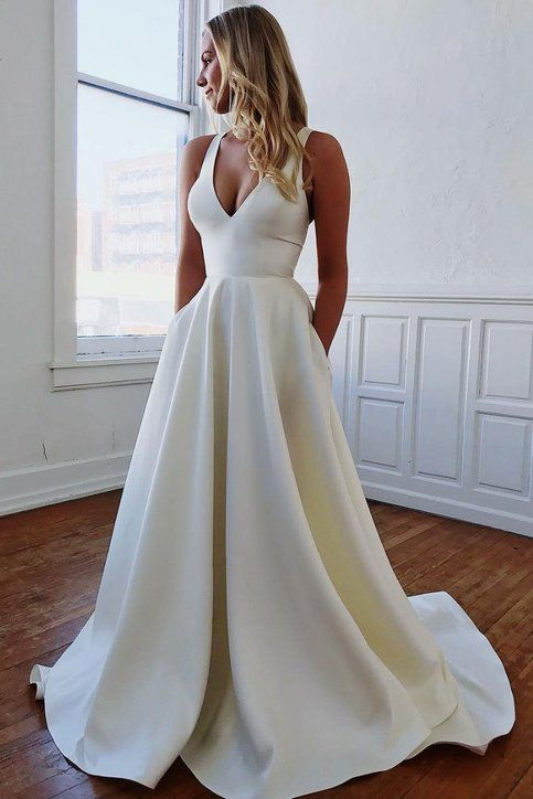 Elegant White V Neck Satin Lengthy Promenade Gown with Pockets,White Night Gown,Bow Again Formal Gown