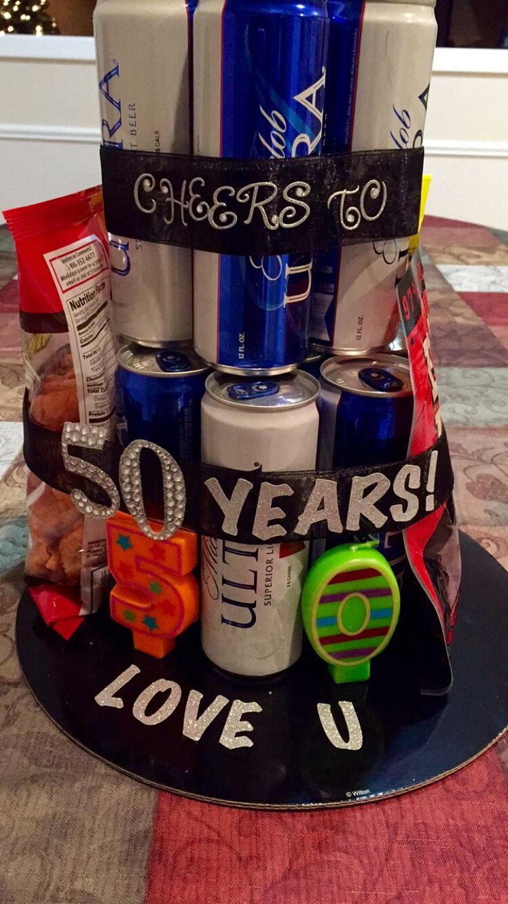 """""""Cheers to 50 years!"""" 50th birthday beer cake for men"""