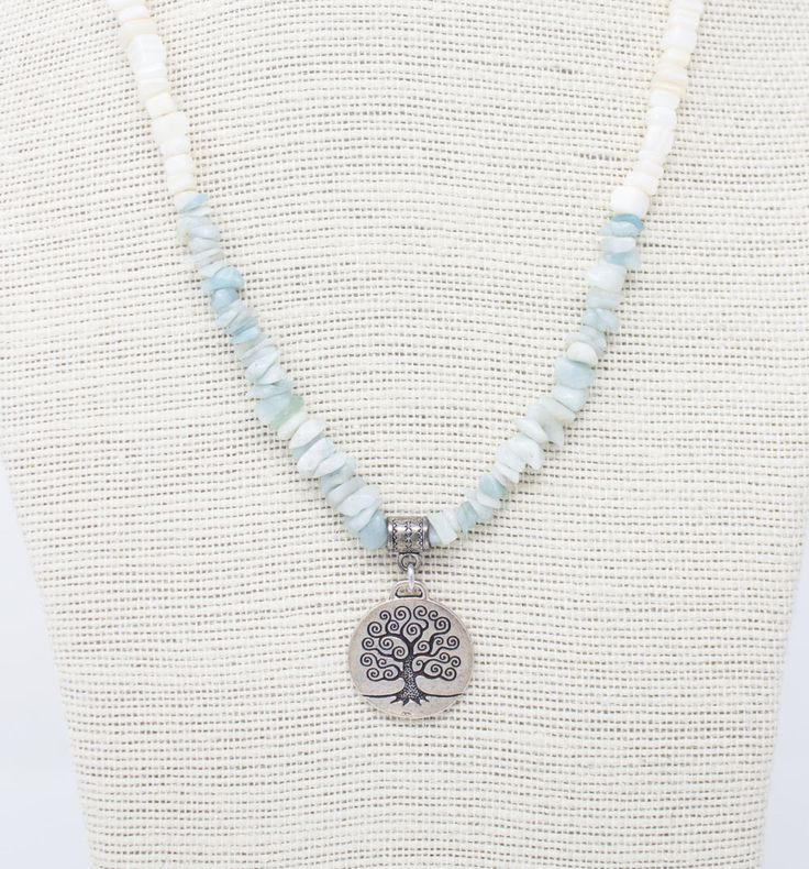 Beach Necklace, Tree of Life Pendant, Amazonite Chips, Pale Blue Necklace, Amazonite Necklace, Tree Necklace, Earth Day, Beach Wedding https://www.etsy.com/listing/500005926/beach-necklace-tree-of-life-pendant?utm_campaign=crowdfire&utm_content=crowdfire&utm_medium=social&utm_source=pinterest