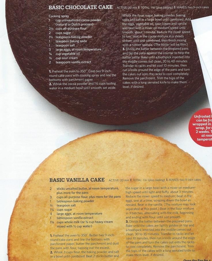 Basic Chocolate & Vanilla Cake:  A little bit more like a pound cake than a fluffy cake.