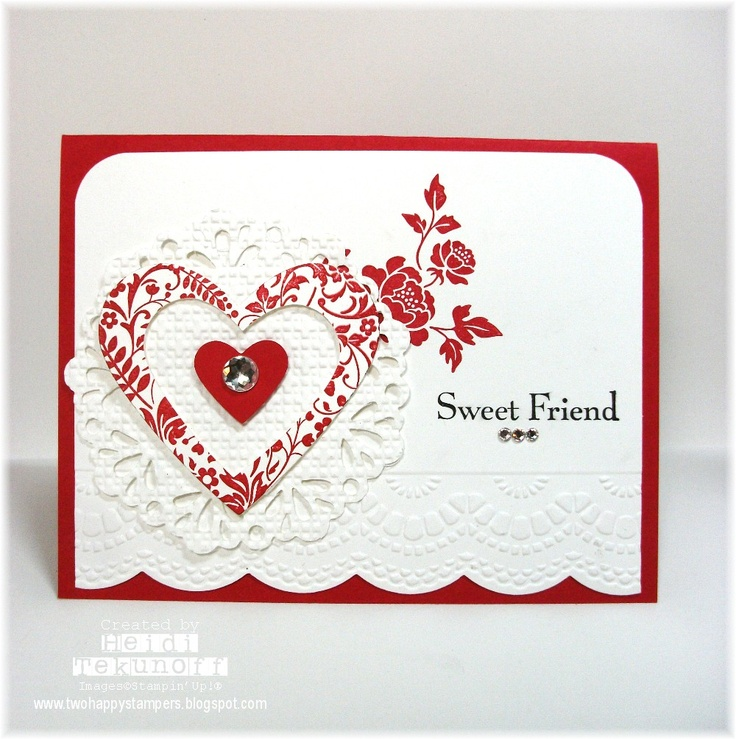Two Happy Stampers: Doily Heart Valentine