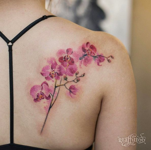 Watercolor orchid by Tattooist River