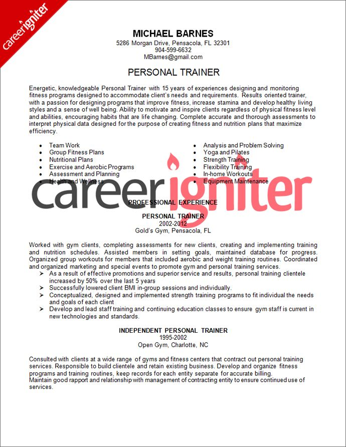 Personal Trainer Resume Sample | resume | Pinterest | Personal ...