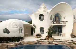 Shell house. It is the most original house in Mexico or maybe in the world. It is one of the most beautiful houses you will surely enjoy. It is located in Isla Mujeres northeast of Yucatan peninsula in the Caribbean Sea.