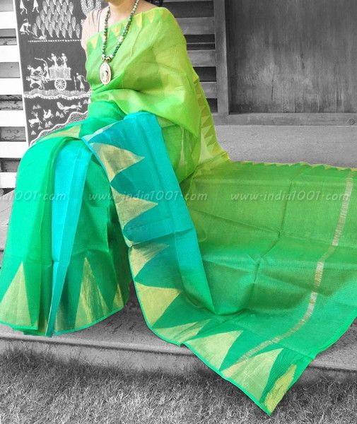 Elegant Kota Silk Saree with Temple Border