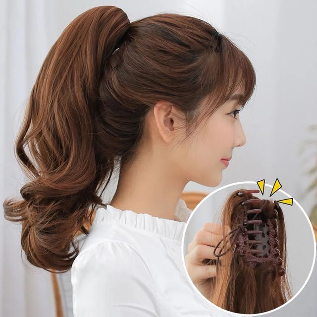 Korean Ponytail Hairstyle With Bangs 2019 For Round Face Hairstyles With Bangs Hair Styles Types Of Hair Extensions