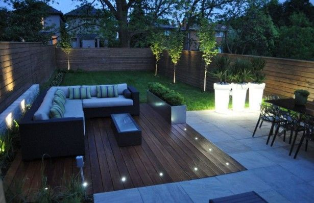 Outdoor: Decorative Outdoor String Lighting for Perfect Backyard Modern Backyard Ideas With Elegant Wooden Deck And L Shaped Sofa Using Decorative Outdoor String Lighting
