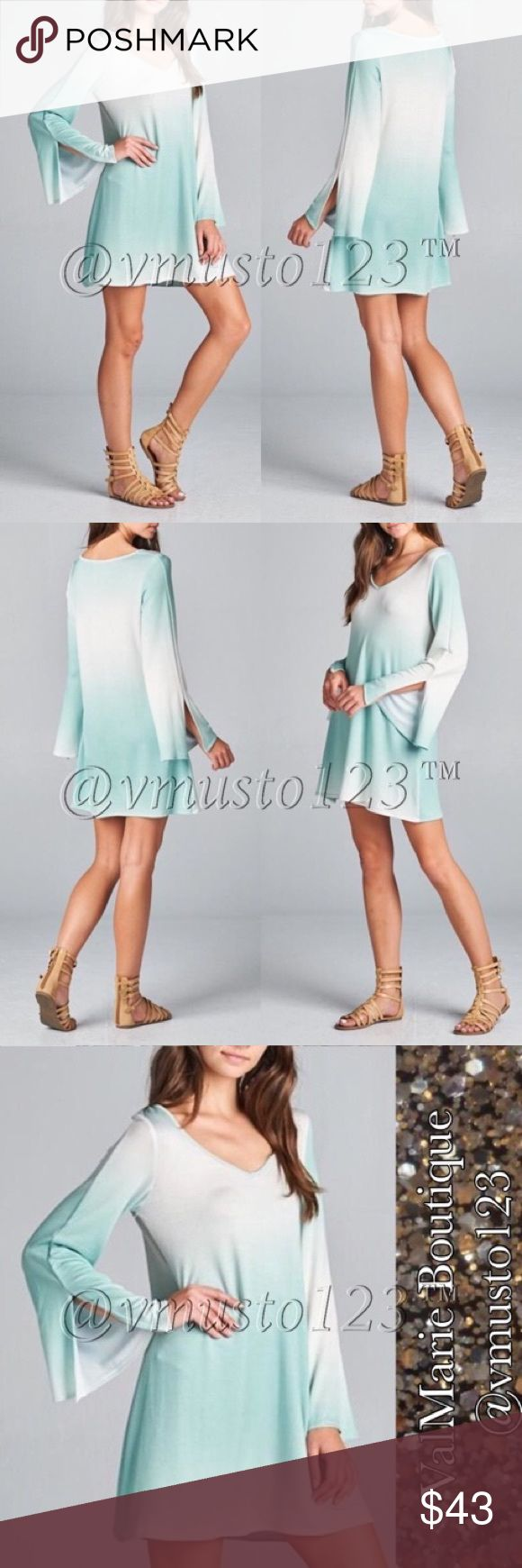 """MINT OMBRÉ LONG SLEEVE MINI DRESS 🇺🇸MADE IN USA - This STUNNING mint long sleeve dress features an ombre colored design, loose fit, v-neck and bell sleeves with an 8 slit on the sleeves. So gorgeous and on trend and so soft and comfortable! TTS S(2-4) M(6-8) L(10-12) 95% poly, 5% spandex. 34"""" - PRICE FIRM UNLESS BUNDLED. Perfect fashion for Easter Memorial Day spring break Coachella festival wedding vacation lounging date night anniversary birthday present gift comfortable sexy cute dress…"""