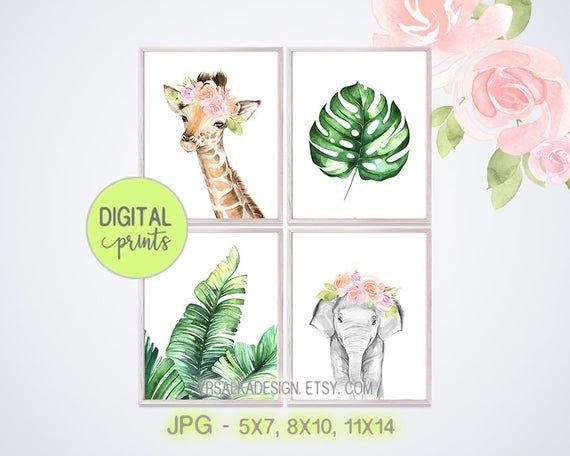 Tropical Jungle Pink Elephant Girls Printable Nursery Wall Art