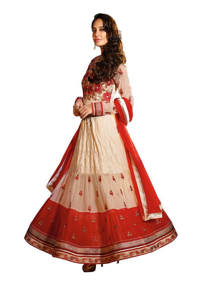 Fabdeal Designer White And Red Georgette Embroidered Salwar Suit #lisaHyden