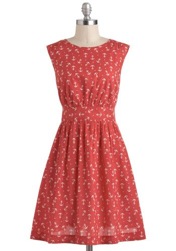 Too Much Fun Dress in Red Anchors - Modcloth $79.99 // @Abigail Dorman this is sooo you!