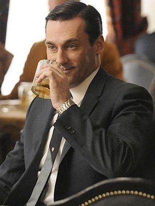 Don Draper Drinking a Manhattan Cocktail on Mad Men