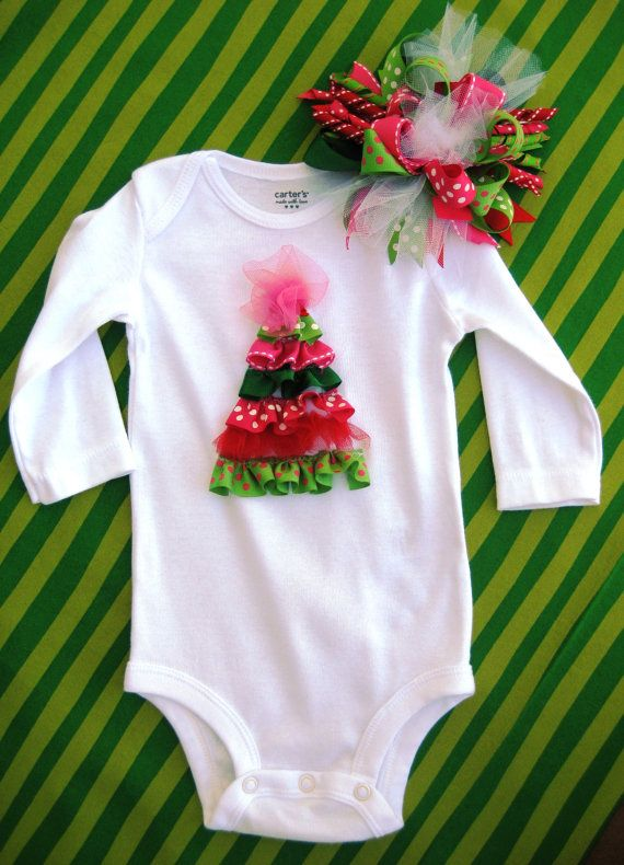 Such a cute outfit for a first Christmas.....baby would look like a package under the tree!!!