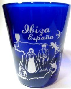 "Ibiza Spain Cobalt Blue Shot Glass.5x6cm style shot glass Measures 2.5"" tall and 2"" in diameter Souvenir from Ibiza Spain"