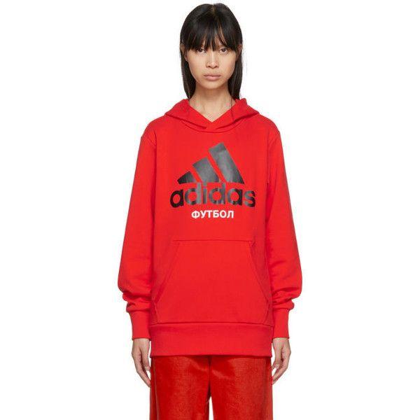 Gosha Rubchinskiy Red adidas Originals Edition Hoodie (£110) ❤ liked on Polyvore featuring tops, hoodies, red, hooded sweatshirt, logo hoodies, pocket tops, red hoodies and long sleeve tops