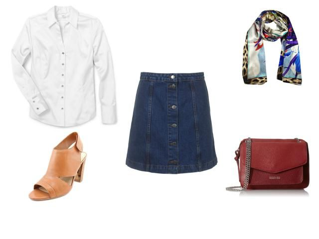 How to Wear a Denim Skirt - Casual Friday Outfit for the Office - Button Up Denim Skirt, White Button Down Shirt, Colorful Scarf, Neutral Bag and Shoes