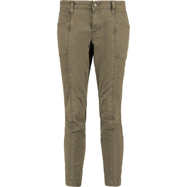J Brand - Byrnes Cropped Cotton-blend Slim-leg Pants (125 CAD) ❤ liked on Polyvore featuring pants, capris, army green, army green skinny jeans, olive skinny jeans, torn skinny jeans, brown skinny jeans and ripped pants