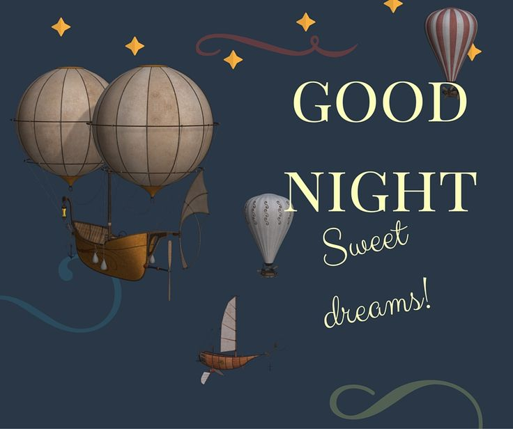 good night sweet dreams illustration with balloons flying in the air.