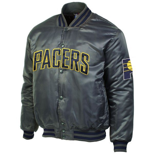 Indiana Pacers Majestic Satin Jacket - Charcoal  IndianaPacers ... 595575978