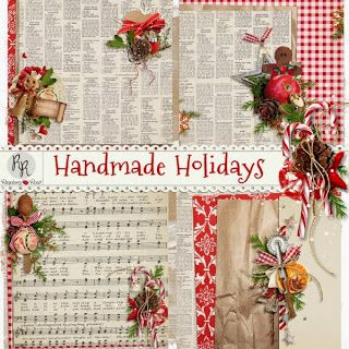 A set of stacked and decorated Christmas themed papers designed to coordinate with the Handmade Holidays collection.