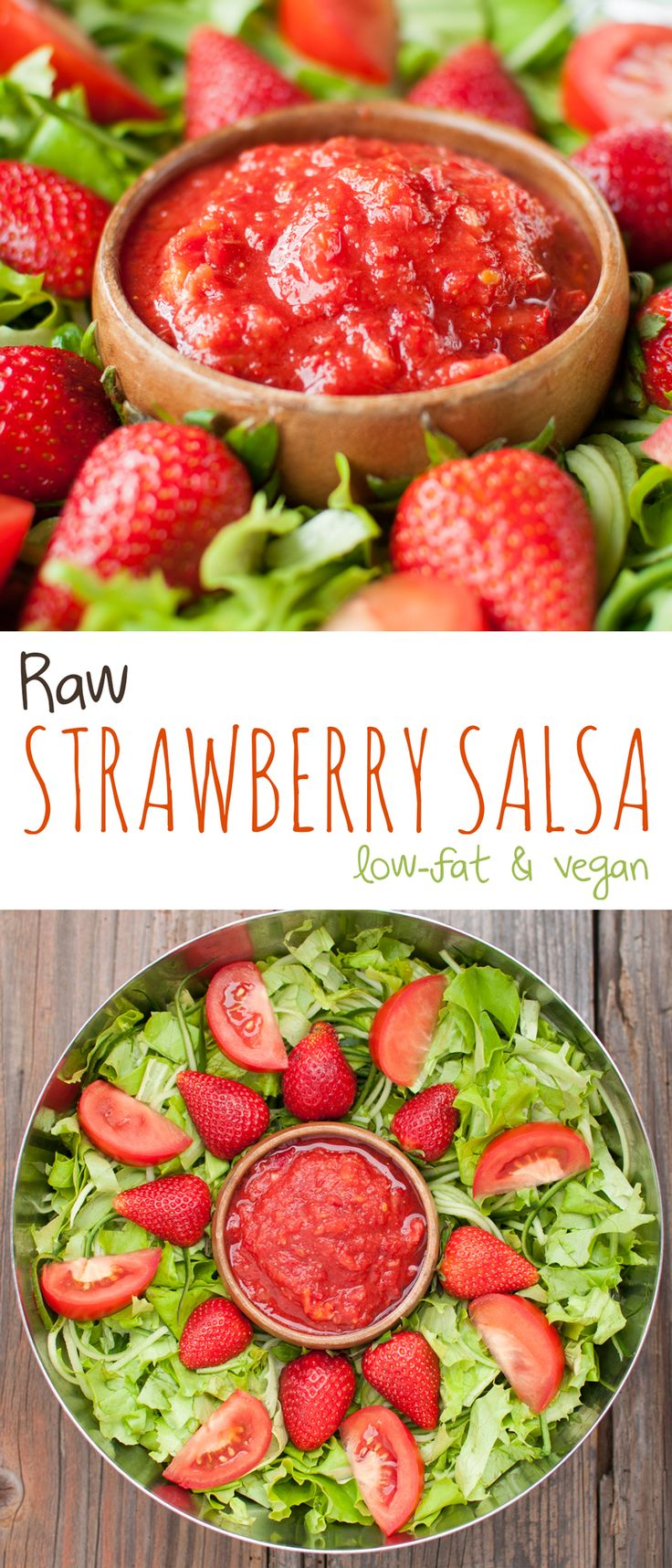 Raw Strawberry Salsa (low-fat, vegan) - When you are looking for something different for that summer picnic, this is it! | #paleo #healthy