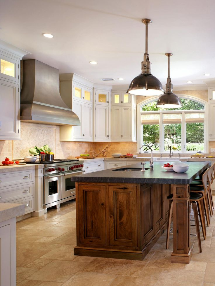 Unfinished Kitchen Islands Pictures Ideas From Hgtv: Walnut Island With Soapstone, White Perimeter Cabinets