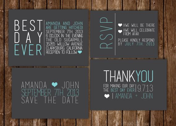 46 best save the dates invitations images on pinterest best day ever modern wedding invitation printable set can change the color or font stopboris Gallery