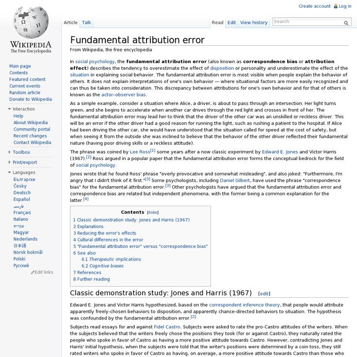 Fundamental attribution error @ Wikipedia