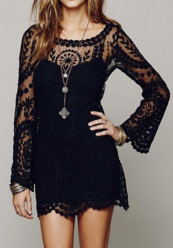 Black Plain Embroidery Long Sleeve Lace Dress - Mini Dresses - Dresses