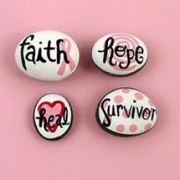 Painted word stones.