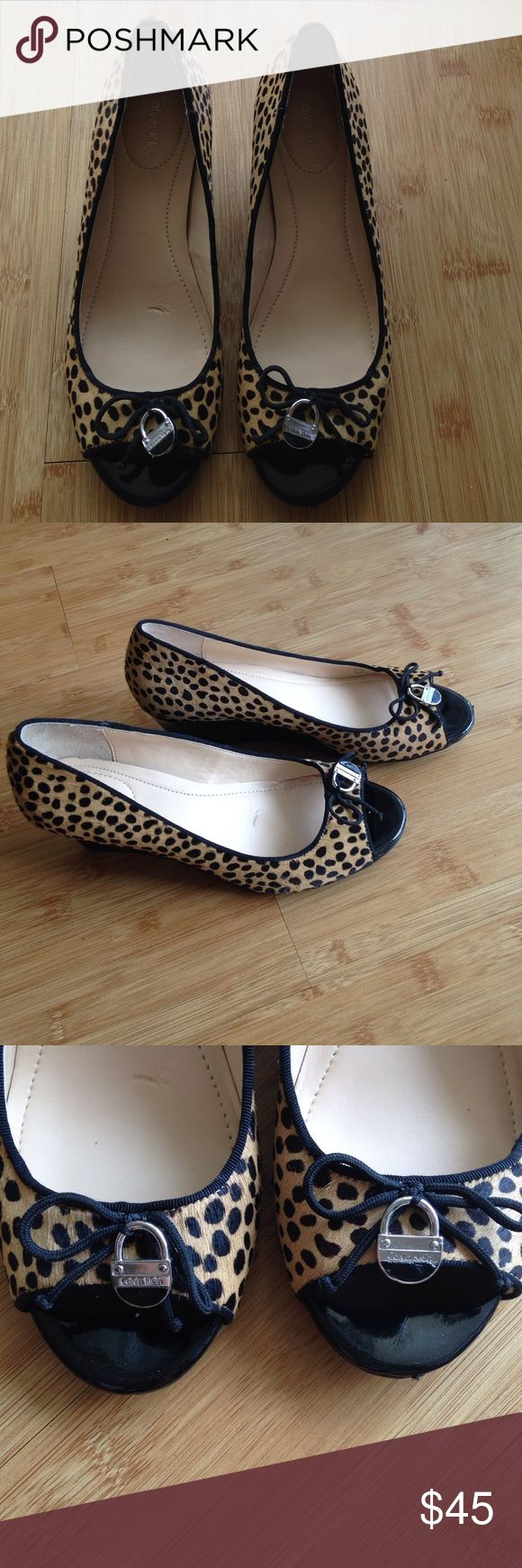 CALVIN KLEIN Wedges Wore it once. Too big for me. I wear a size 5/5.5 and this is a 6.5. Very cute leopard print. Perfect for work! Shoes Heels
