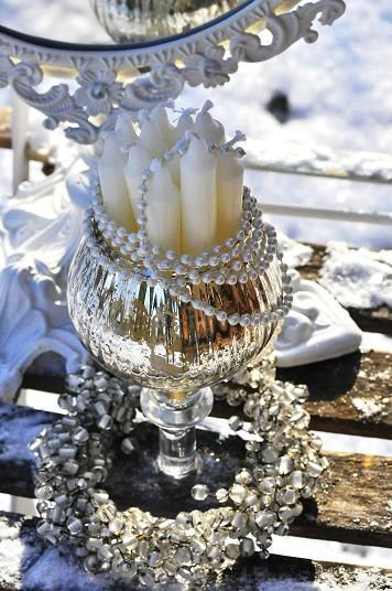 candles and silver....: Mercury Glasses, Elegant Candles, Candles Holders, White Decor, White Candles, Christmas Candles, Christmas Decor, Mason Jars, Christmas Ideas