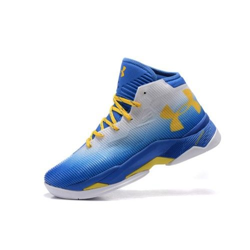 2016 Under Armour Curry 2.5 Blanc Bleu Jaune Chaussure De Basket