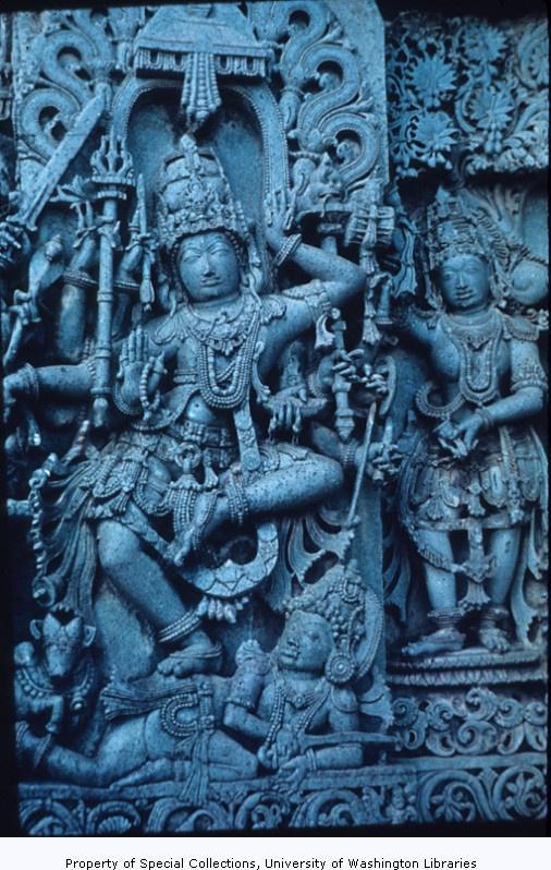 Carving of Krishna Gobardhana, Hoysaleswara temple, Halebid, Karnataka, India, ca. 12th century A.D.