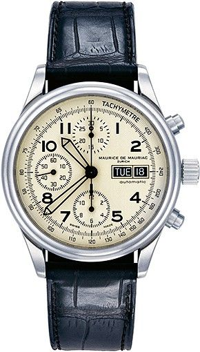 Automatic Classic Watch from Swiss Watchmakers Maurice de Mauriac. screw crown, simple pusher, open case back, sapphire crystal with anti-reflective treatment on both sides, Croco strap. mens watches, womens watches, swiss watches