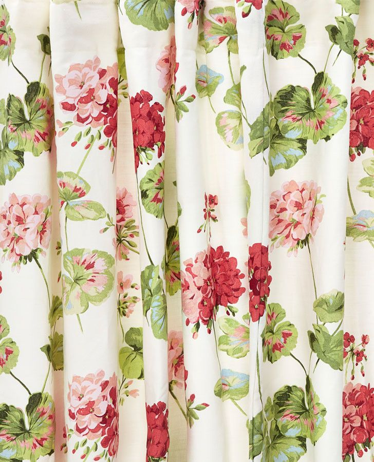 Geranium Floral Cotton Pencil Pleat Ready Made Curtains