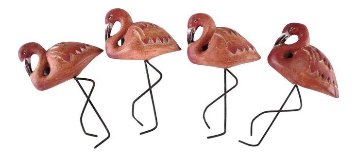 Tropical Pink Flamingos Carved Wood Napkin Rings Set of 4 | eBay