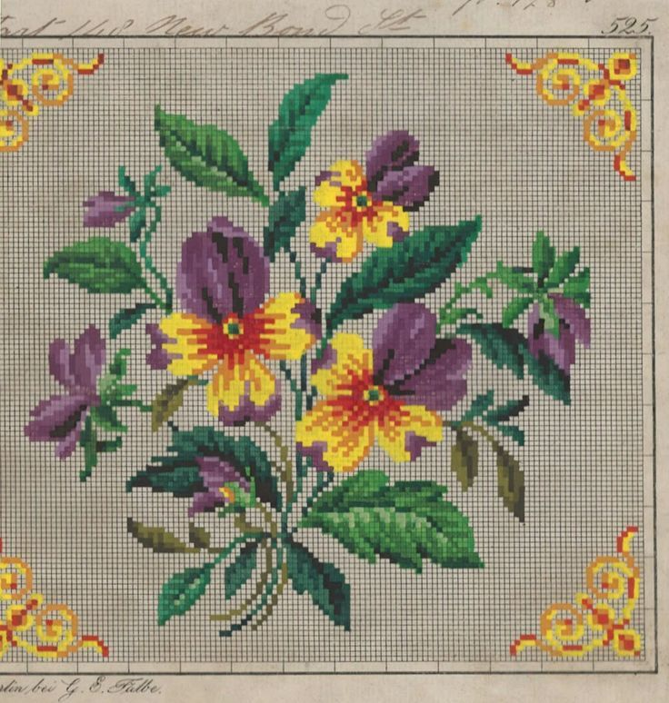 Floral Berlin WoolWork Pattern Produced By G E Falbe