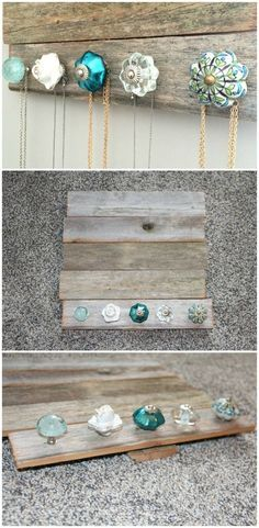 DIY Jewelry holder – perfect for holding and organizing your jewelry and necklaces.  Cute antique knobs (from Pier 1 Imports) and barn wood (Hobby Lobby).  Only cost $30 and was easy to make!  Tutorial, tips, and more images on the blog!