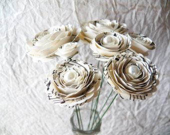 Items similar to Paper Flowers - Wedding Bouquet - Home Decor - Stemmed Flowers - Made To Order - Wide Variety Of Colors - Set of 48 on Etsy