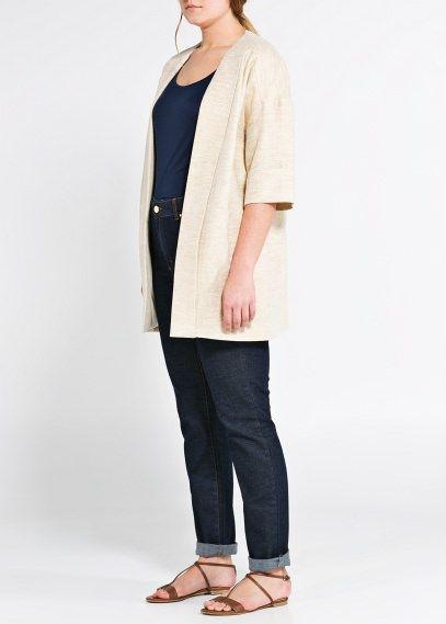Leinenmantel im Kimono-Stil