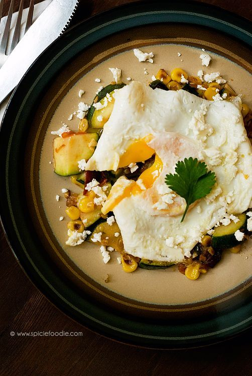 Jalapeno Spiced Mexican Zucchini and Corn Topped with a Fried Egg Recipe | #jalapeno #zucchini #corn #eggs #meatlessmeals