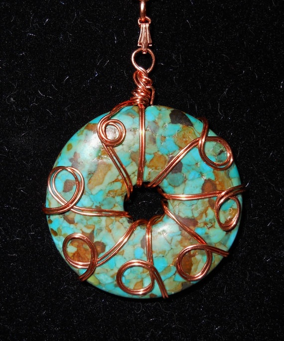 Necklace  Mosaic Turquoise Donut with copper wire by Koswaltcrafts, $20.00