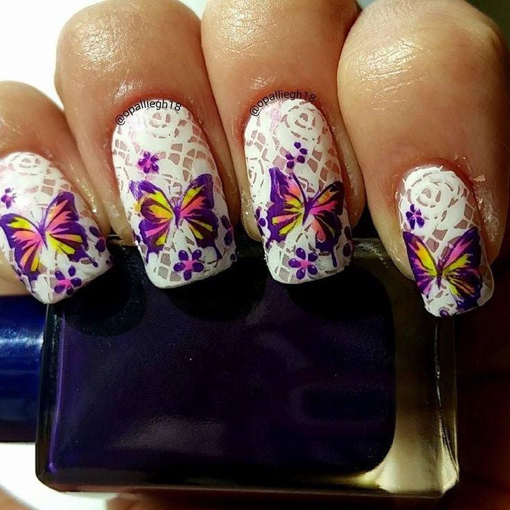 Advanced Nail Art: Lace Butterflies Nail Stamping